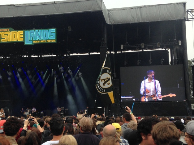 Gibbard strums as the Oakland A's faithful flag breezes in the crowd.